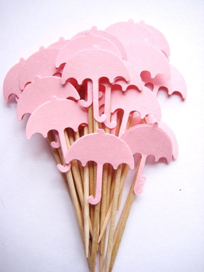 24 Baby Girl Pink Umbrella Party Picks - Cupcake Toppers - Toothpicks - Food Picks - die cut punch FP189. $3.99, via Etsy.