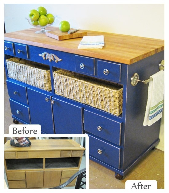 Kitchen Island & Storage from an old dresser - by Cathy Kivimaki