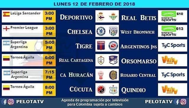 Agenda Futbolera #Televisión #EnVivo #Colombia #Partidos #Futbol #LigaAguila #Pelotatv #futbolcolombiano #futbolcolombia #cervezaaguila #cúcuta #quindio #RealCartagena #chelseafc : @pelotatv
