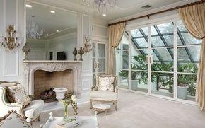 Обои гостиная, оранжерея, окно, кресла, белый, камин, дизайн
