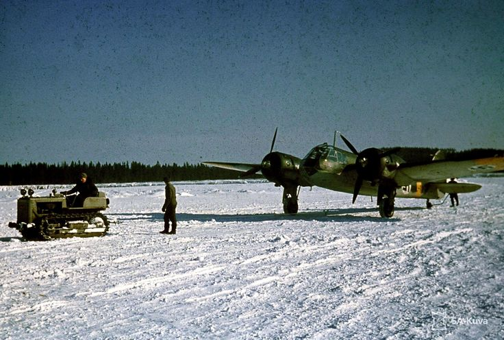 A Finnish Air Force Bristol Blenheim Bomber on snowy airfield, pin by Paolo Marzioli