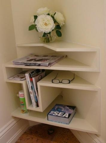 corner shelving @Karen Gourlay this could work in that little nook at the top of your stairs x