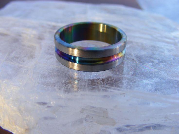 Titanium Rainbow Center Groove Wedding Band by customringdesigns
