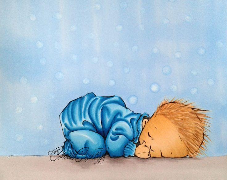 """Für eine Bekannte habe ich die Tage das süße Babymotiv""""Hush"""" von Mo Manning in blau für eine Karte zur Geburt eines Jungen coloriert und wollte euch das niedliche Ergebnis nicht voren…"""
