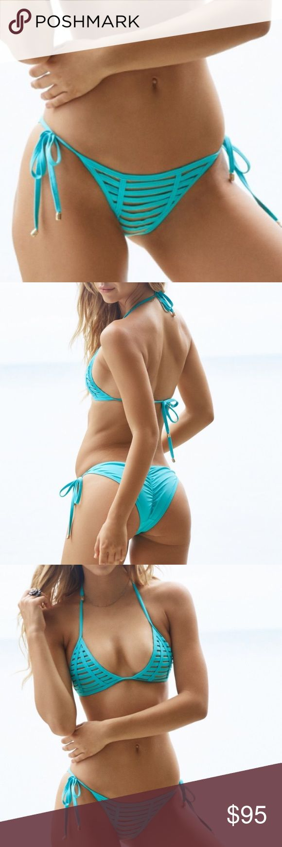 NWT💠Beach Bunny Hard Summer Triangle Top The super popular Hard Summer is now available in Aqua! The suit features a triangle top.   The top ties at the neck and back and has gorgeous corded Beach Bunny ends. . Beach Bunny Swim Bikinis