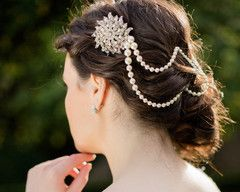 The Statement Headpiece - Serena Pearl Hair Drape.