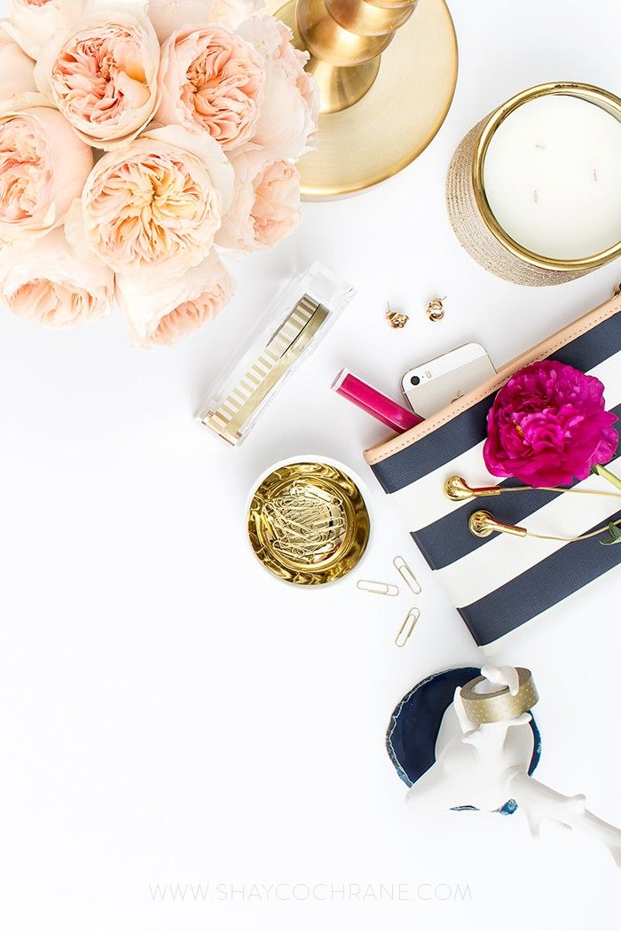 Product styling, prop styling, and photography by Shay Cochrane   www.shaycochrane.com   desktop, navy, peach, gold, fuchsia