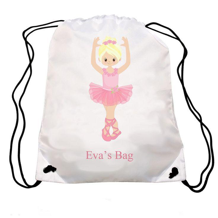 Personalized Ballet bag, Personalised drawstring bag, dance bag, swimming bag, school bag by cjcprint on Etsy
