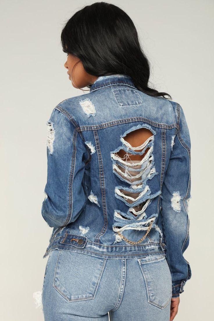 Distressed Chain Back Denim Jacket Medium Blue Wash Denim Jacket Vintage Denim Jacket Jackets