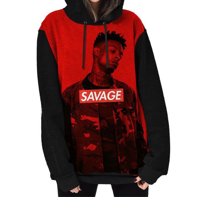 Blusa Moletom Capuz Feminino 21 Savage Rap Rapper Trap Bank ... 52d955c9991