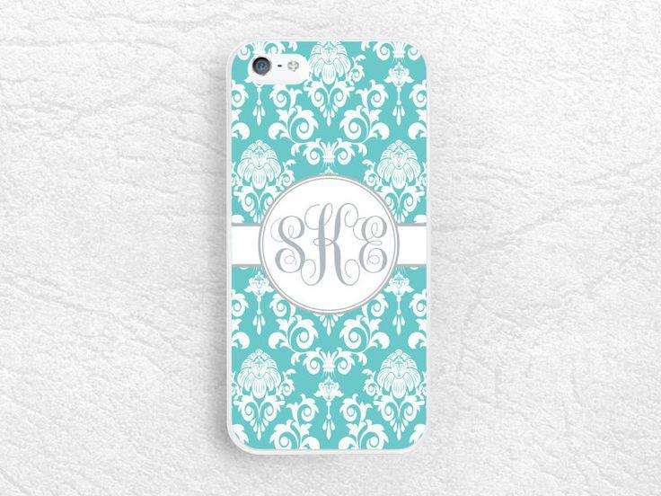 Tiffany blue Damask lace Monogram phone case for iPhone, Sony z3 compact, LG g3 g2 Nexus5, Moto X Moto G, custom case with personalized name