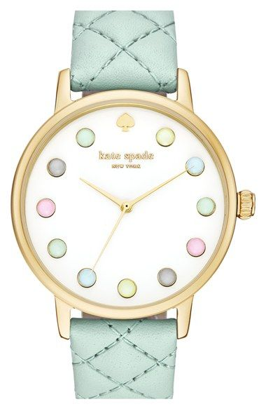 kate spade new york 'metro - rainbow' leather strap watch, 38mm available at #Nordstrom