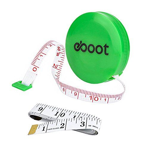 eBoot 60 Inch Green Retractable Measuring Tape Ruler and Soft Tape Measure Set for Sewing Tailor Cloth
