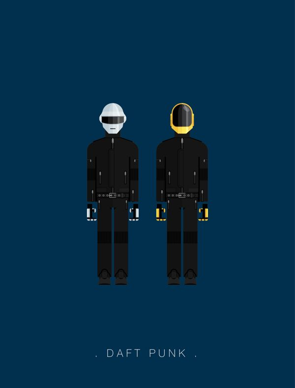 Daft Piunk - An Illustration Series of Some of the Most Iconic Clothing in Pop Music