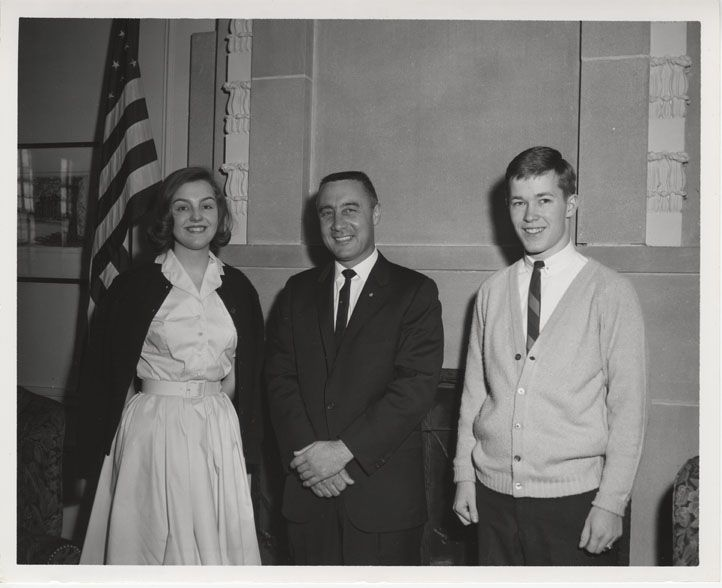 Astronaut Gus Grissom meet Purdue Exponent reporters Sue Holloway and Charles Mohler. Copyright Purdue University Libraries. All rights reserved.