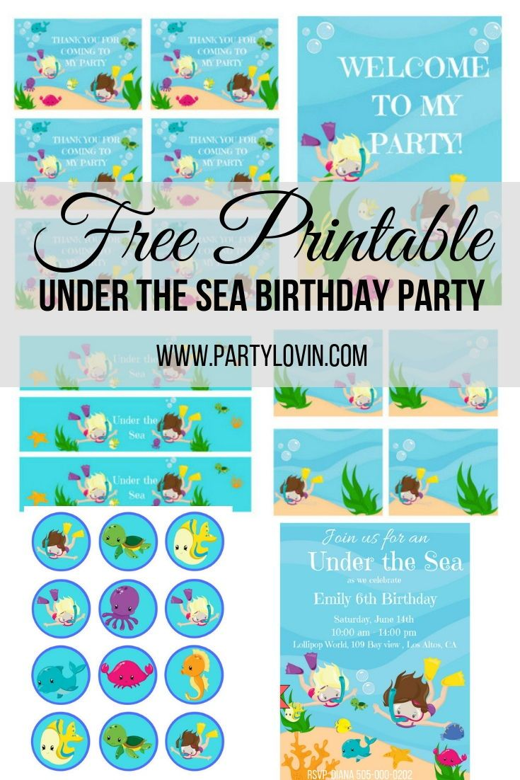 Free Printables Under The Sea Birthday Party Printables Partylovin Birthday Party Invitations Free Sea Birthday Ocean Birthday Party