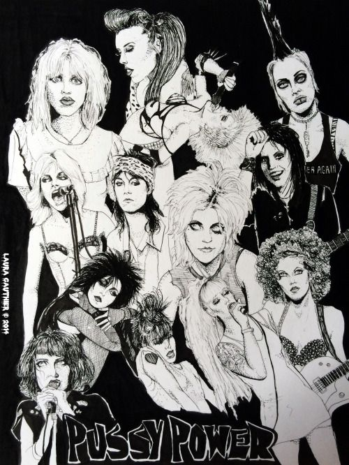 """Some badass ladies of rock 'n roll! Art by Laura Gauthier Micron and Sumo ink on mixed media paper, 11"""" x 14"""" Courtney Love, Patricia Day, Wendy O Williams, Brody Dalle, Joan Jett, Cherie Currie, Patti Smith, Donita Sparks, Poison Ivy Rorschach,..."""