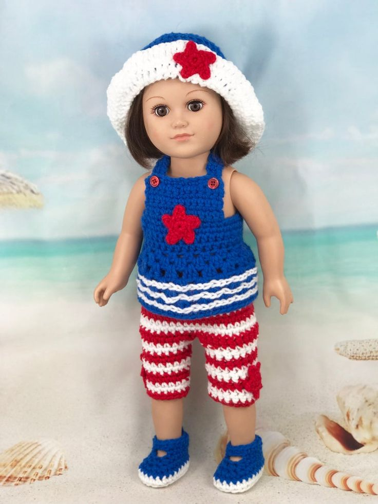 Crochet PDF pattern to make 18″ Doll Patriotic sun hat capris halter and shoes, crochet doll clothes pattern, red white blue