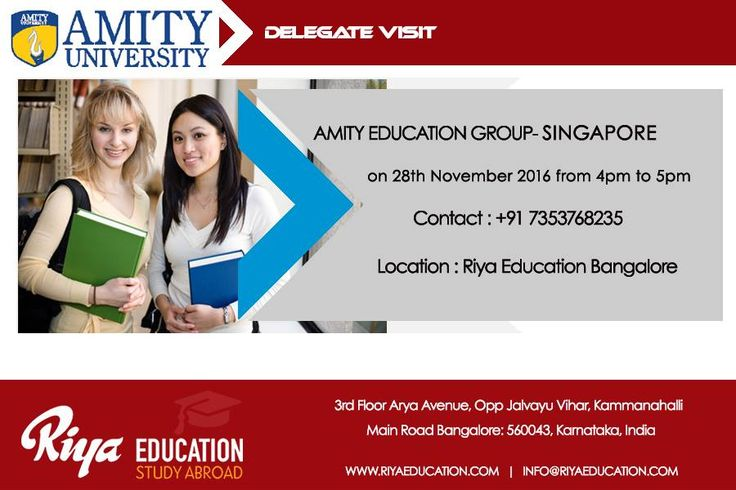 Amity Education Group-Singapore Delegate Visit at Riya Education, Bangalore. Meet the Delegate and get a chance to avail on Spot Admission. Visit our website.