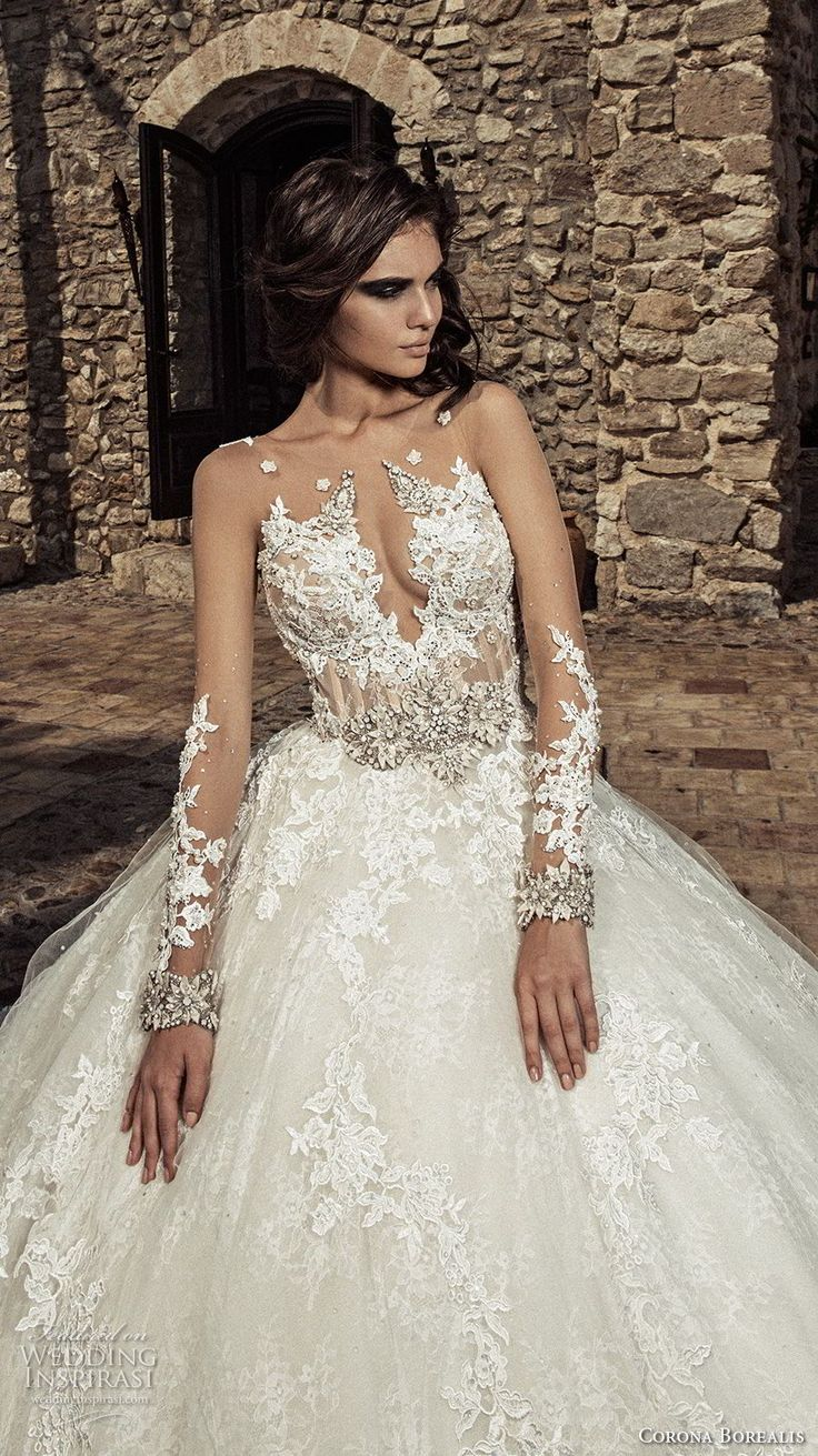 corona borealis 2018 bridal long sleeves illusion jewel deep plunging sweetheart neckline full embellishment glamorous princess ball gown wedding dress sheer rasor back chapel train (10) zv -- Corona Borealis 2018 Wedding Dresses