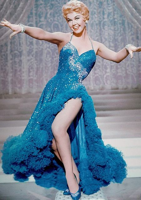 "Doris Day.   ""Love this Blue Georgeous Flamboyant Dress!"""