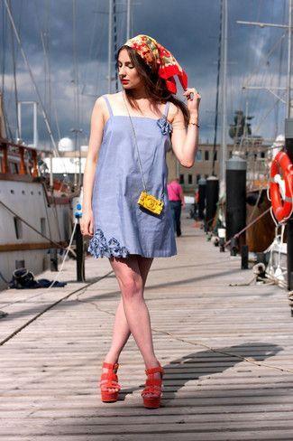 Light-Blue-Overall-Dress-Orange-Wedge-Sandals-Yellow-Crossbody-Bag-Red-Bandana