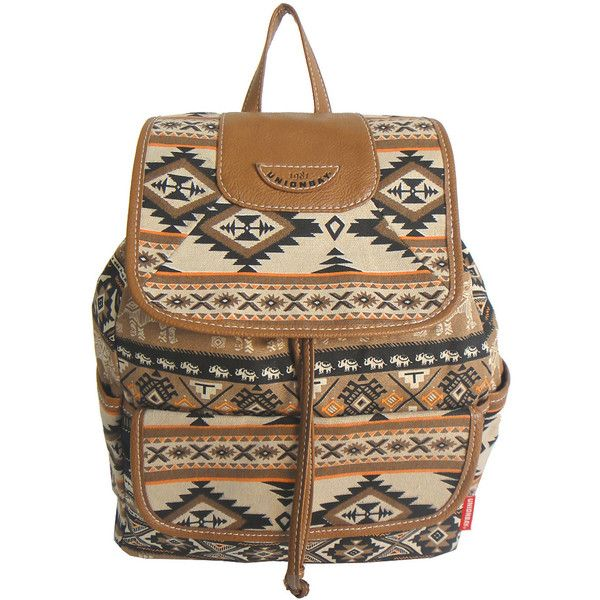 UNIONBAY Aztec Neutral Backpack (€24) ❤ liked on Polyvore featuring bags, backpacks, hardware bag, flap bag, brown backpack, top handle bag and backpack bag