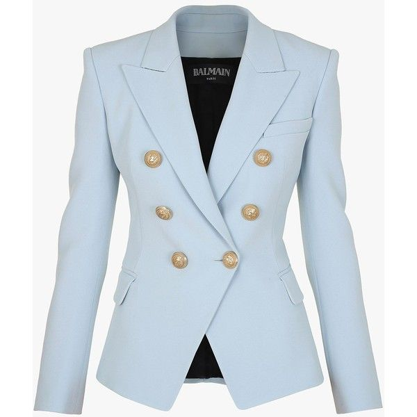 Double-breasted crepe blazer | Women's blazers | Balmain ($2,080) ❤ liked on Polyvore featuring outerwear, jackets, blazers, blue double breasted jacket, blue jackets, balmain jacket, crepe jacket and blazer jacket
