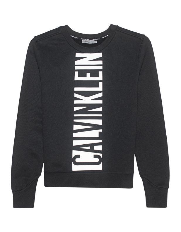 Sweatshirt mit Print Schwarzes schmal geschnittenes Sweatshirt aus einem  soften Baumwoll-Mix mit Rundhalsausschnitt,