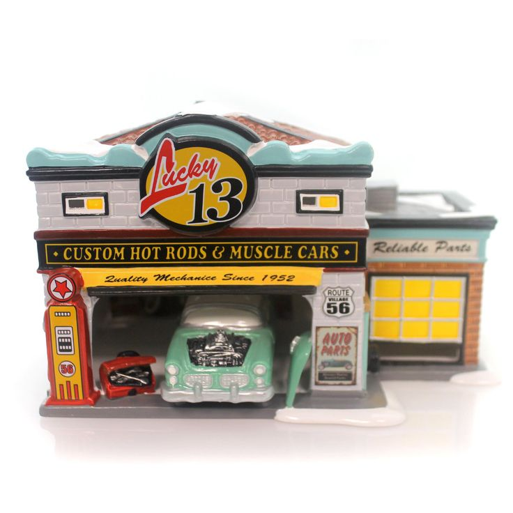 Department 56 House Lucky 13 Garage Village Lighted Building