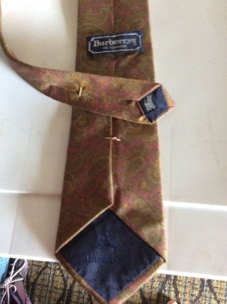 Burberrys Paisley Navy Burgundy Brown Green Neck Tie Pure Silk London hand sewn #Burberrys #NeckTie