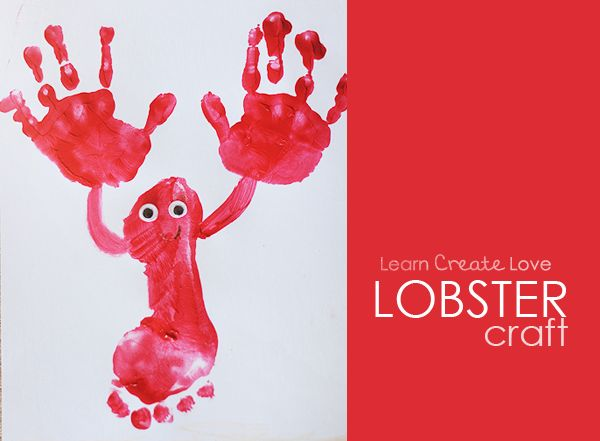 Lobster Craft--Just start with the footprint, then do the hands, then add the connecting arms. Glue on some googly eyes and color on a mouth. Easy lobster!!  We used craft/tempera paint on cardstock. Construction paper would work; cardstock is just thicker so it holds the paint better.