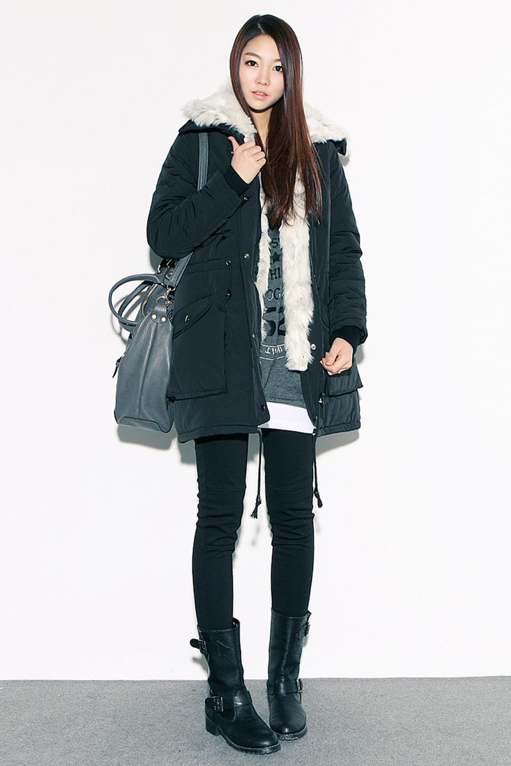 ♥ GG's tiny times ♥ Korean winter style# k fashion# comfy cozy jacket with skinny jeans and ankle flat boots