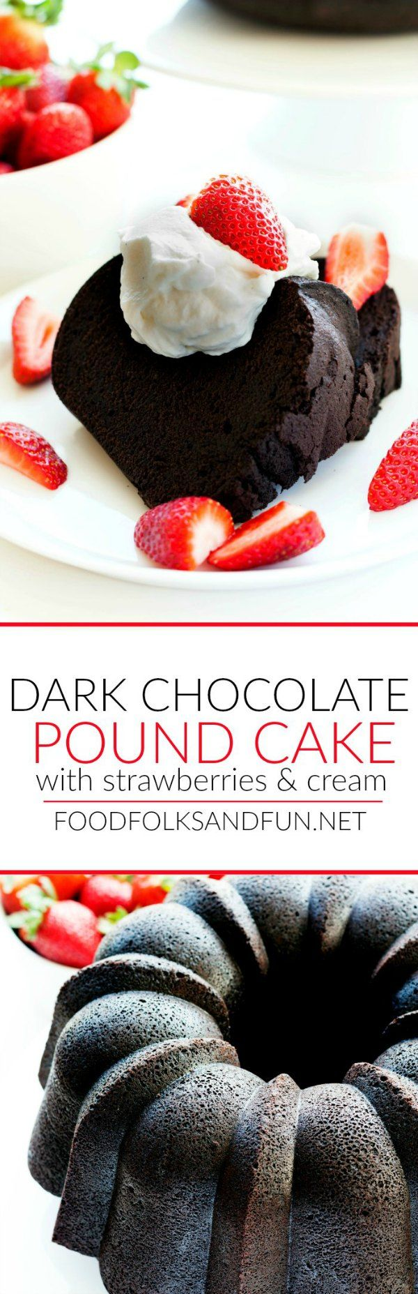 This recipe for Dark Chocolate Pound Cake with Strawberries and Cream uses tree popular Valentine's Day ingredients: chocolate, strawberries, and cream! #ad #savetimetips @pamcookingspray