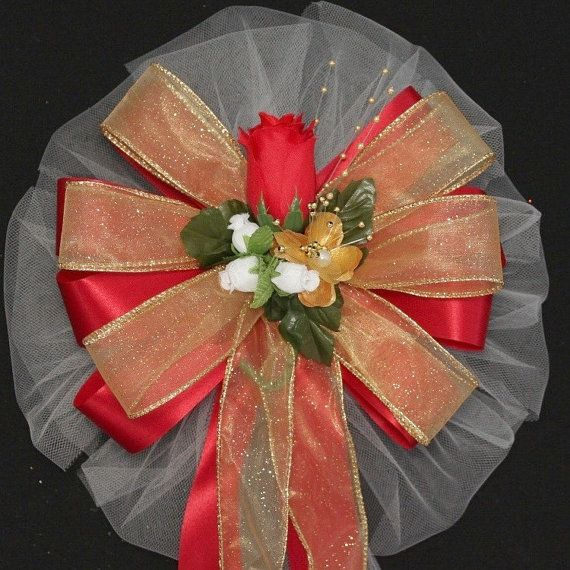 Or Rose rouge mariage Pew arcs  décorations de léglise Pew