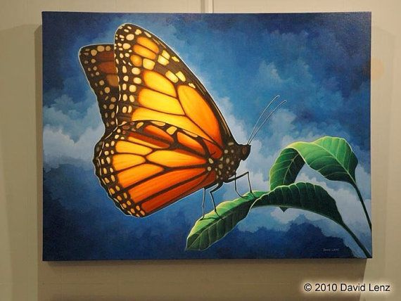 Resting Beauty Original Acrylic Painting of Monarch by ...