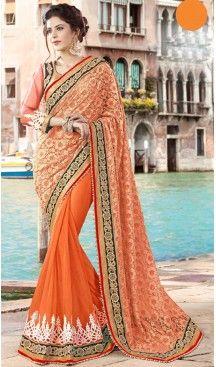Orange Color Georgette Party Wear Saris Blouse | FH529980071 #traditional #ethnic #ootd #fashion #makeup #mua #hair #lehenga #saree #sari #jewellery #jewelry #asian #asia #wedding #weddingphotography #asianwedding #asianbride #bridal #bride #weddingbells, #love #fashion #india #wedding #floral #sari #desi #blouse #bollywood #weddings #couture #style #dress #editorial #designer #punjabisuit #makeup #sisters #satin #indianbride #beautiful #bride @heenastyle