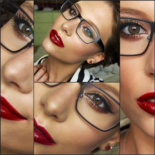 Makeup For Glasses: Golden Eye with Signature Red Lip, by Hayley Kassel