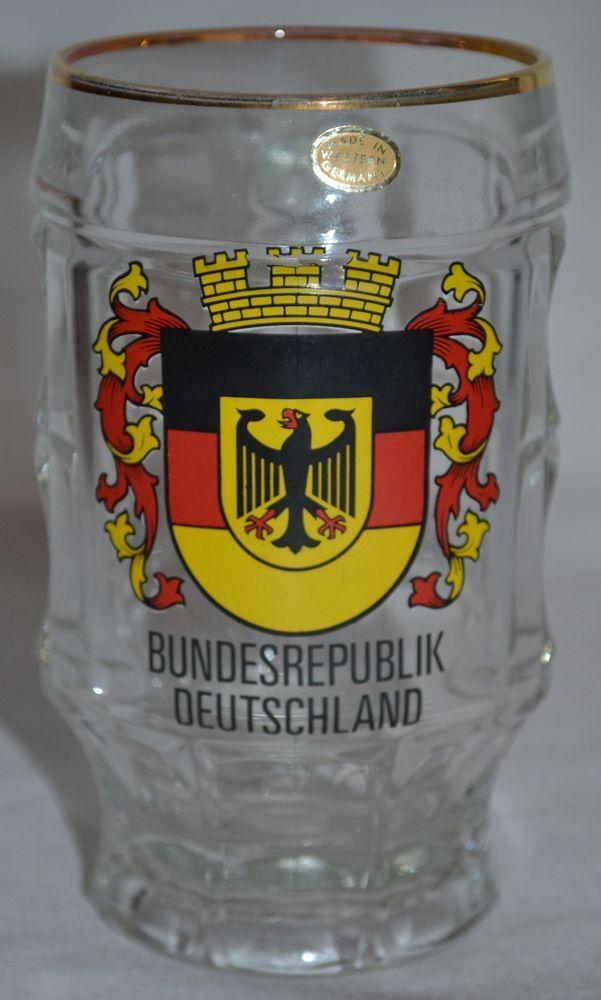 bundesrepublik deutschland coat of arms vintage german glass beer mug l. Black Bedroom Furniture Sets. Home Design Ideas