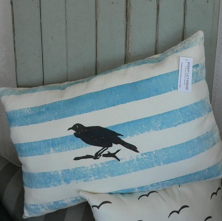 NZ TUI hand block printed 40cmx60cm cushion