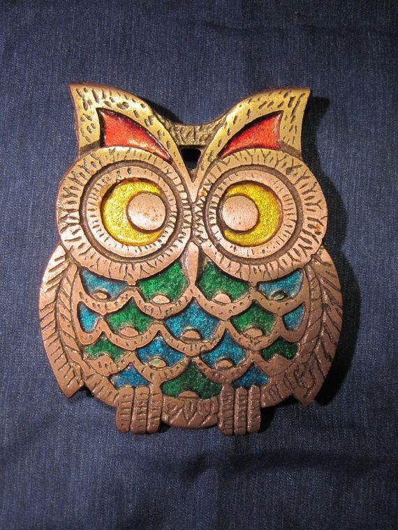 Owl Trivet Pot HolderWall Decor Shabby Chic Vintage by Teaviant