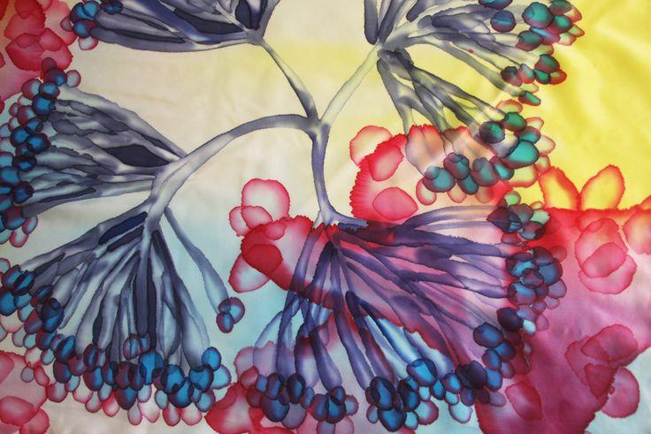 """Obraz """"Dzikie kwiaty morze"""", ręcznie malowany jedwabny szal przez Asta Masiulyte"""