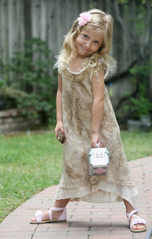 Beige fancy felted dress for a little girl with a silk rose, lace and ruffles romantic boho flower girl dress special occasion lace dress