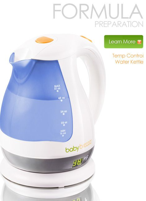 No more waiting for water to heat up for baby's bottle! The Temp Control Water Kettle keeps water at a constant temperature all day for quick, easy bottle prep.  LOVE IT!