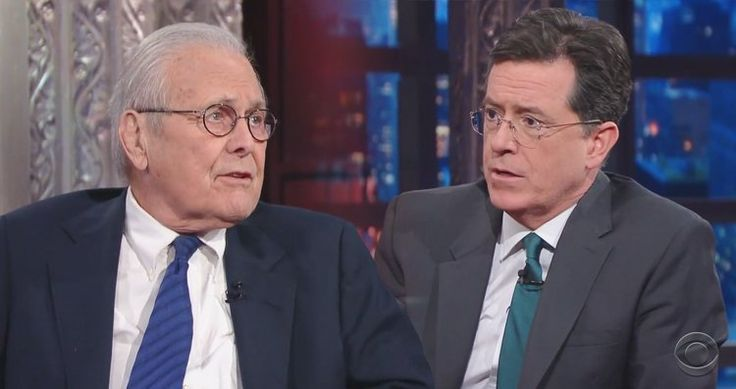 Donald Rumsfeld admits to Stephen Colbert that the American people were not told the truth leading up to the Iraq War.