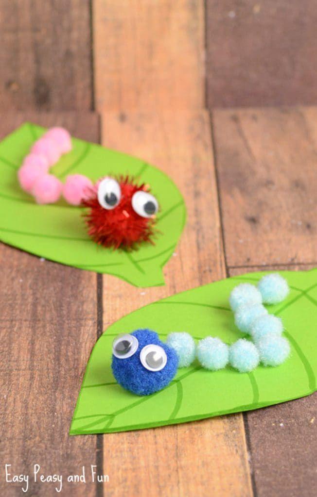 Caterpillar Pom Pom Craft Spring Craft Ideas Pom Pom Crafts Kindergarten Crafts Craft Activities For Kids