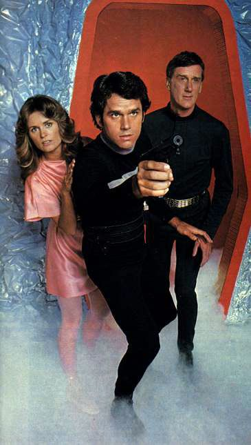 LOGANS RUN (1977) TV Series Publicity Still - Gregory Harrison, Heather Menzies, and Donald Moffat