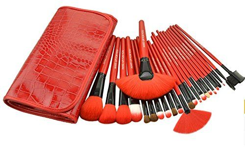 BLUETTEK Professional Cosmetic Wooden Handle Makeup Ultra Soft Brushes Tools Pro Set with Roll Up Pouch Bag Red -- Want additional info? Click on the image.