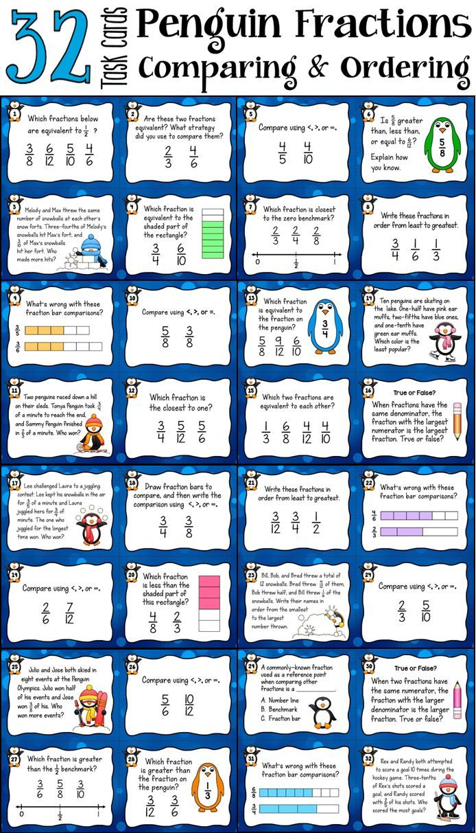 Comparing Fractions Task Cards with adorable penguin fractions! Perfect for math centers, cooperative learning practice, and Scoot games. 32 unique cards in color and B&W; includes recording pages and answer keys $ #LauraCandler