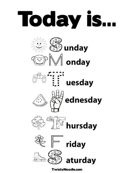New Days of the Week Coloring Page from TwistyNoodle.com